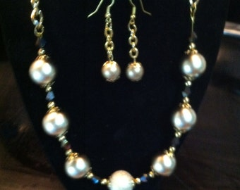 Golden Globes and Crystal Necklace and Earrings