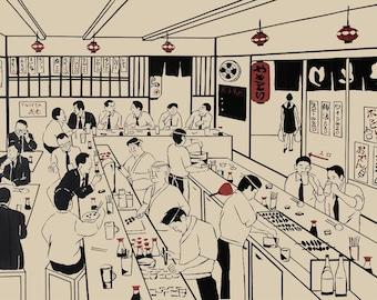 Salary Men, businessman, Art print, Tape Art, Japanese, beer, Yakitori, Izakaya,