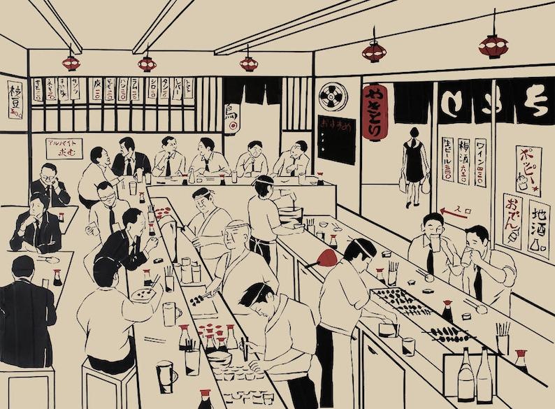 Salary Men businessman Art print Tape Art Japanese beer image 0