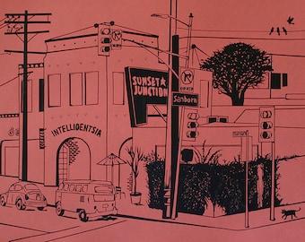 Sunset Junction, Silver lake, Los Angeles, LGBT, Intelligentsia Coffee, Tape Art, Prints