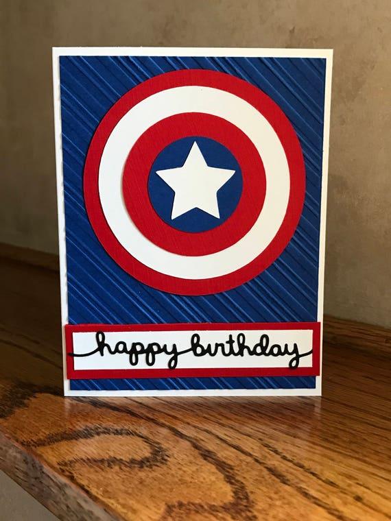 Happy Birthday Card Captain America Themed Card Superhero Etsy