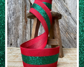Wired ribbon, emerald green ribbon, 2.5 inch wired ribbon, glitter ribbon, 10 yards ribbon, Christmas ribbon, sparkle ribbon, luxury ribbon