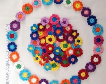 Flower Garland Crochet Pattern, Flower Bunting Pattern, PDF download #36 Round flower pattern