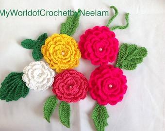 Flower Garland Crochet Pattern, Flower Pattern, PDF download
