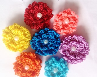 Crochet flower pattern. Fluffy flower pattern, photo tutorial. Hawaiian flower applique, easy crochet pattern, instant download.