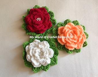 Crochet flower pattern, photo tutorial. Hawaiian flower applique, easy crochet pattern, instant download.