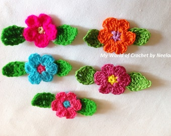 PDF crochet pattern small Flower and leaf - instant download - colourful flowers - accessories, headbands, flower-applique #34