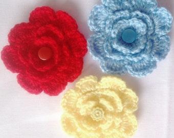 Crochet flower pattern, flowers  crochet pattern, applique flowers, Three layer flower pattern Instant download