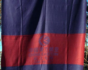 Vintage China Eastern Airlines In-Flight Blanket 'Cabin Use Only' Red/Blue Weave Chinese