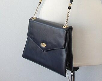 Vintage leather purse bag Navy blue leather clutch evening bag Lcredi shoulder bag crossbody Womens long strap handbag Retro satchel