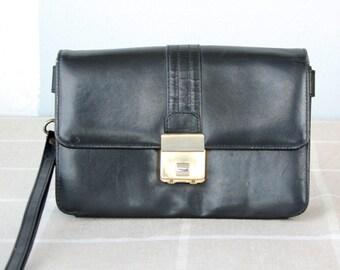 Vintage men's leather bag with combination lock Wristlet bag Clutch bag Handbag for men Travel case Passport Messenger Portfolio Zipper bag