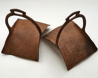 Antique large iron stirrups pair Hand forged riding saddle stirrups Vintage horse tack Horseback riding Equestrian decor Horse Collectible
