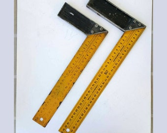 Vintage set square rulers Industrial decor t-square drawing tool Steel metal Engineer Architect technical tools yellow black L ruler