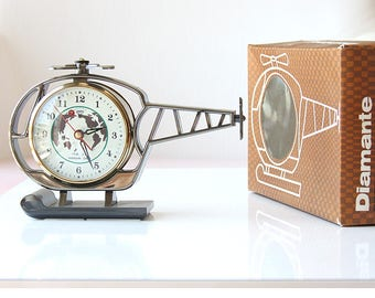Chinese table clock etsy vintage alarm clock helicopter clock new old stock wind up mechanical chinese desk clock old table gumiabroncs Image collections