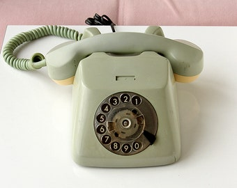 Vintage rotary phone 1960's German dial phone Sage green TT Mid century Old telephone Classic desk phone Retro home decor