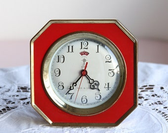 Vintage alarm clock Wind up mechanical clock Chinese desk clock Old table clock Polaris Red and gold retro