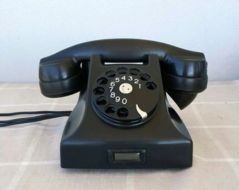 Vintage rotary phone Black bakelite phone Ericsson phone antique telephone Black Dial phone Classic desk phone Mid century modern