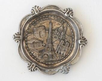Vintage Souvenir De Paris ornate ashtray coin dish small trinket dish France wall hanging Eiffel Tower SAP Polyne HC6 1990 plate collectible