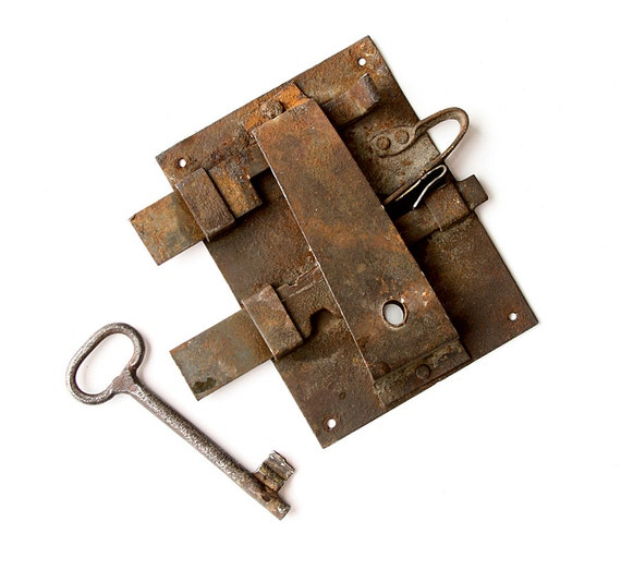 image 0 - Antique Handmade Door Lock With Key Working Hand Forged Iron Etsy