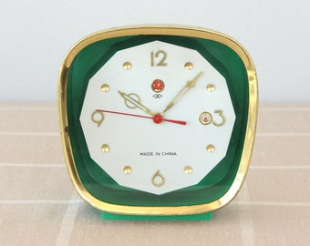 Vintage large alarm clock with calendar Wind up clock Mechanical Old desk clock Table clock Collectible shelf clock Vintage chinese clock