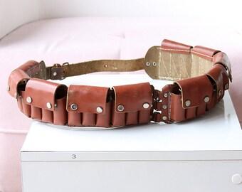Vintage leather ammo belt Hunter's cartridge belt Mens Leather bullet belt Shotgun Shells Ammo Sling Hunting Outdoors Country Western Wear