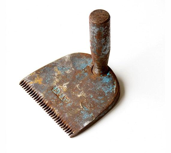 Vintage Weven Kam Metalen Tapijt Kam Primitieve Ijzer Deken Etsy
