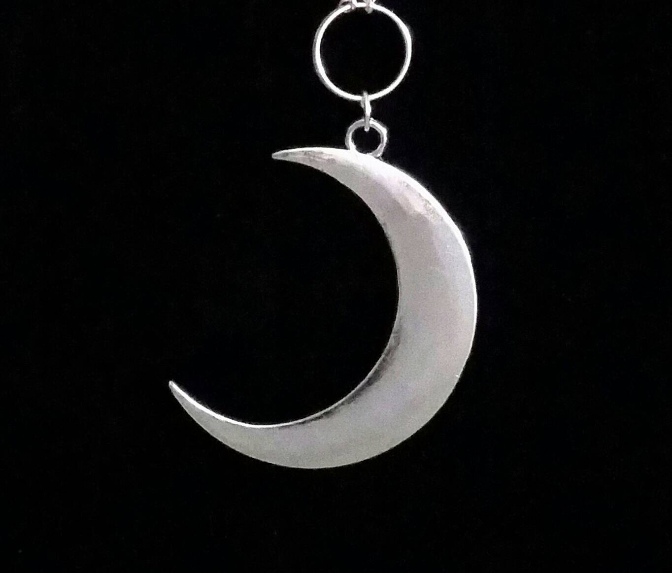 Crescent Moon Necklace Occult Jewelry Moon Necklace Gothic Etsy
