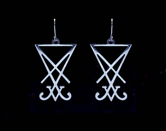 LUCIFER SIGIL earrings, satanic earrings, leviathan cross, necronomicon symbol, chaos symbol, occult symbols, demonic, lords of chaos, dead