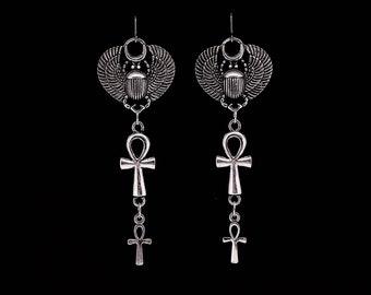 EGYPTIAN SCARAB earrings, ankh earrings, vampire earrings, nile, cleopatra, goth, gothic, ancient ways, nefertiti, eternal life, anhk, blood