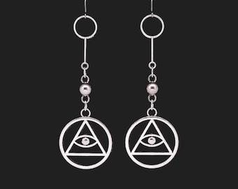 ALL SEEING EYE, geometric earrings, evil eye, eyeball earrings, eye of horus, occult symbols, eye of providence, freemason, illuminati, goth