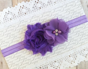 Purple Headband, Newborn Baby Headbands, Girls Headbands, Shabby Chic Headband, Hair Bows For girls, Baby Head Band, Toddler Headband