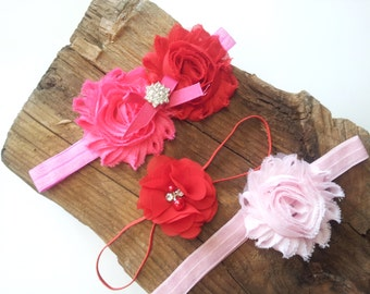 Shabby Chic Headband, Headbands For Baby Girls, Baby Headband Kit, Newborn Head Bands, Red Headband, Toddler Headband, Baby Hair Bands