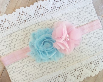 Pink Baby Headband, Shabby Chic Headband, Flower Newborn Headband, Baby Couture Headband, Baby Blue Headband, Headbands Baby, Newborn Bows