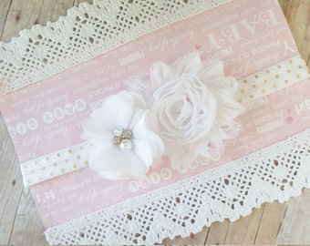 White Headband Baby, Infant Hair Accesories, Shabby Chic Headband, Baby Bows And Headband, Baby Hair Headbands, Baby Flower Headband, Bows