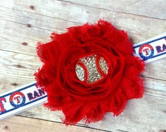 Texas Rangers Headband, MLB Baseball Headband, Team Headband, Texas Rangers Bows, Baseball Headband, Red Headband Bow, Rangers Headband