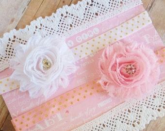 Baby Headband Set, Pink And Gold Headband, Polka Dot Headband, White Baby Headband, Premie Headband, Baby Headbands Infant, Newborn Props