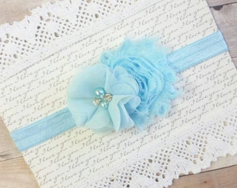 Baby Blue Headband, Floral Baby Headband, Shabby Chic Headband, Headbands For Infants, Flower Headbands For Babies, Newborn Head Bands