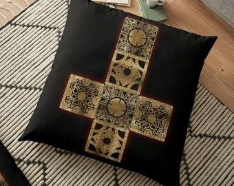 Hellraiser Throw Pillow, Floor Pillow, Pillow Case and Insert - 6 Sizes Available! - Lament Configuration Cross