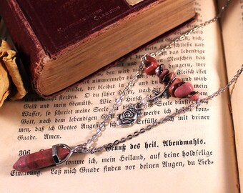 Rhodonite Pendulum & Polished Gemstones Necklace
