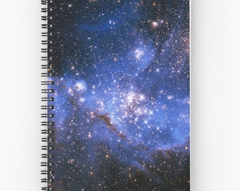 Blue Embryonic Stars Spiral Notebook, You Choose Paper Style!