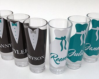 Personalized Groomsmen and Bridesmaid Gifts on a Budget - Shot Glasses with Bow ties, Bridesmaid Wedding Favors, Will You Be My Bridesmaid