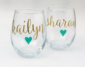 Personalized Wine Glasses, Bridesmaid Gift, Stemless Wine Glass Bachelorette Party Gift Ideas, Personalized Stemless Wine Glasses