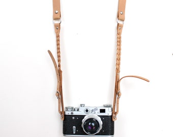 Real Leather Camera Strap Braided leather camera strap Any camera Beige Leather Camera Strap film and digital camera strap Genuine leather