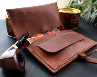 Handmade leather pipe pouch Personalized Pipe Roll Tobacco Pipe Pouch Pipe Case Handcrafted pipe bag