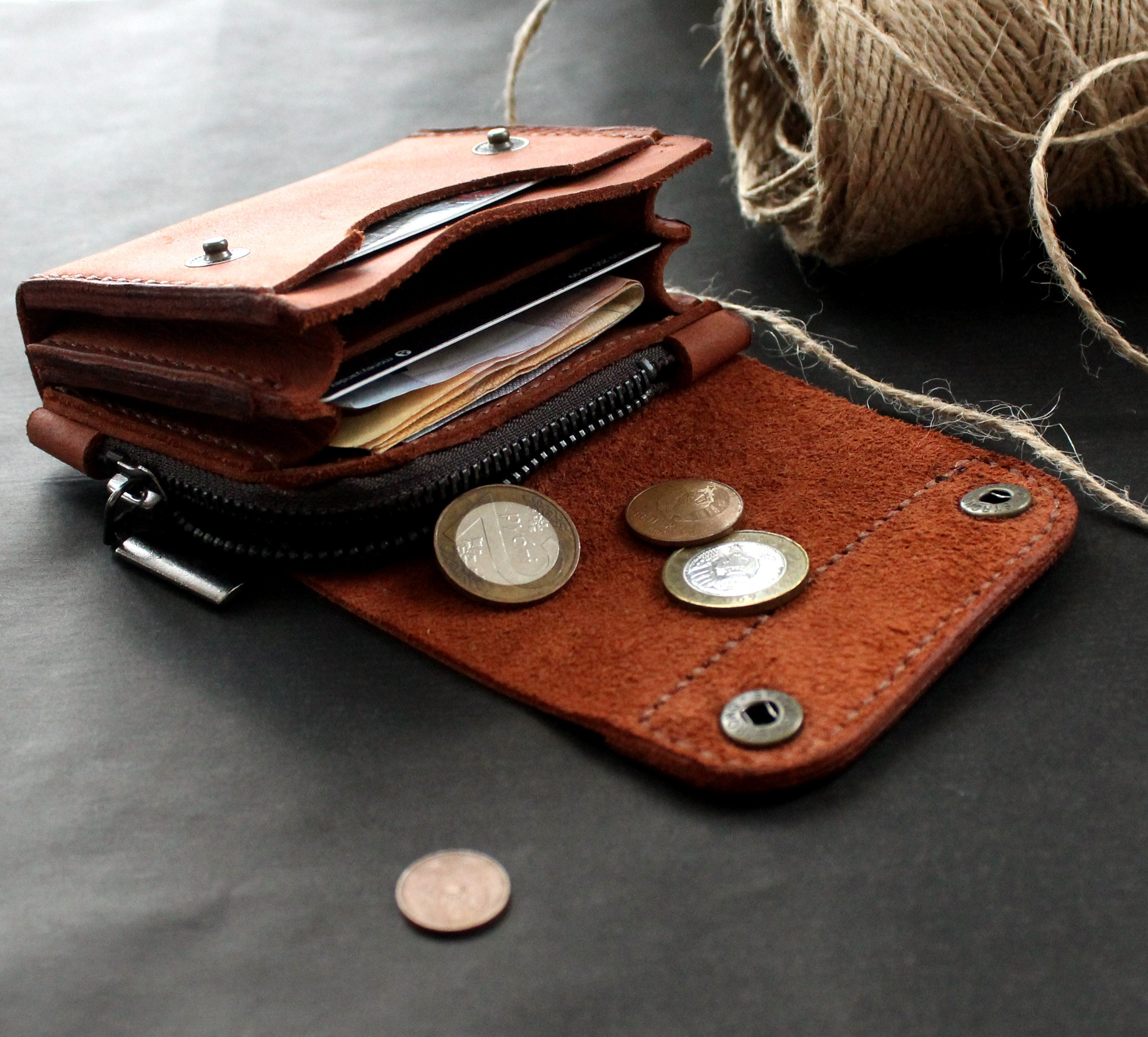 39097ad4a512 Real Leather wallet Small wallet credit card wallet Front