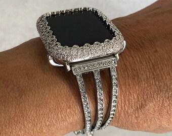 Silver Apple Watch Band Women 38mm 40mm 42mm 44mm Lab Diamond Bezel Iwatch Bangle Series 6 sb1