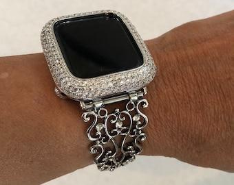 38/40mm 42/44mm Apple Watch Band Silver Filigree Series 1,2,3,4,5,6,SE Lab Diamond Bezel Iwatch Band Bling