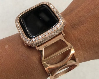 Rose Gold Apple Watch Band 38mm Women and or 2.5mm Lab Diamond Bezel Cover Bling rpb1
