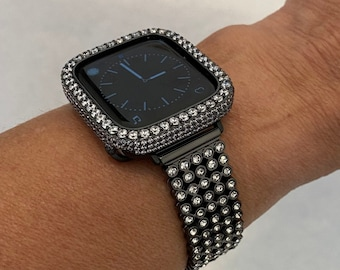 Black Apple Watch Band 38mm 40mm 42mm 44mm and or Lab Diamond Bezel Cover Iwatch Bling Series 6 blb1