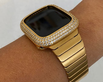 Gold Apple Watch Band Mens 42mm 44mm Stainless Steel and or Lab Diamond Bezel Cover Iwatch Bling gb1